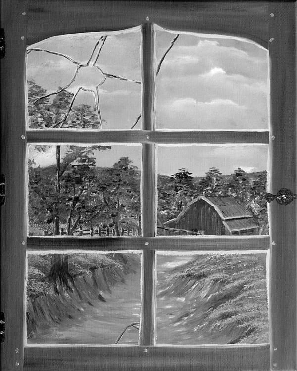 Black And White Poster featuring the painting Broken Window In Black And White by Claude Beaulac