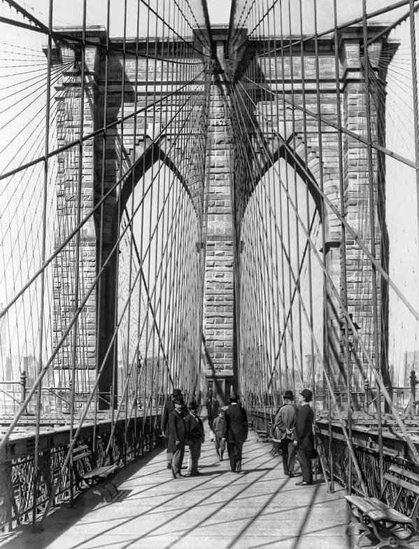 new York Poster featuring the photograph Brooklyn Bridge Promenade 1898 - New York by Daniel Hagerman