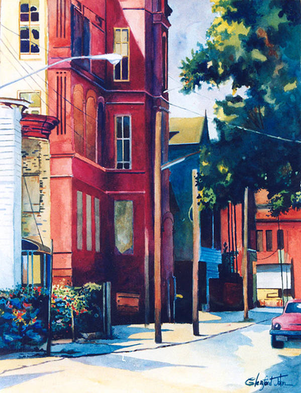 Urban Scenery Poster featuring the painting Brooklyn by Glenford John
