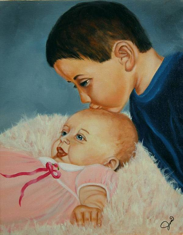 Children Poster featuring the painting Brother And Sister by Joni McPherson