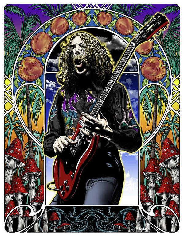 Duane Allman Poster featuring the drawing Brother Duane by Gary Kroman