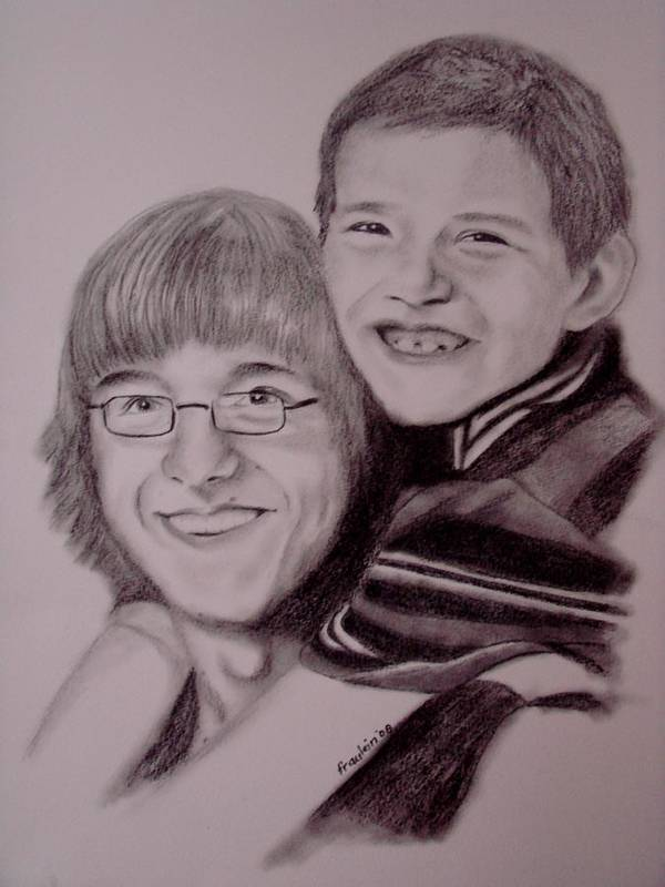 Portrait Poster featuring the drawing Brothers For Life by Glory Fraulein Wolfe