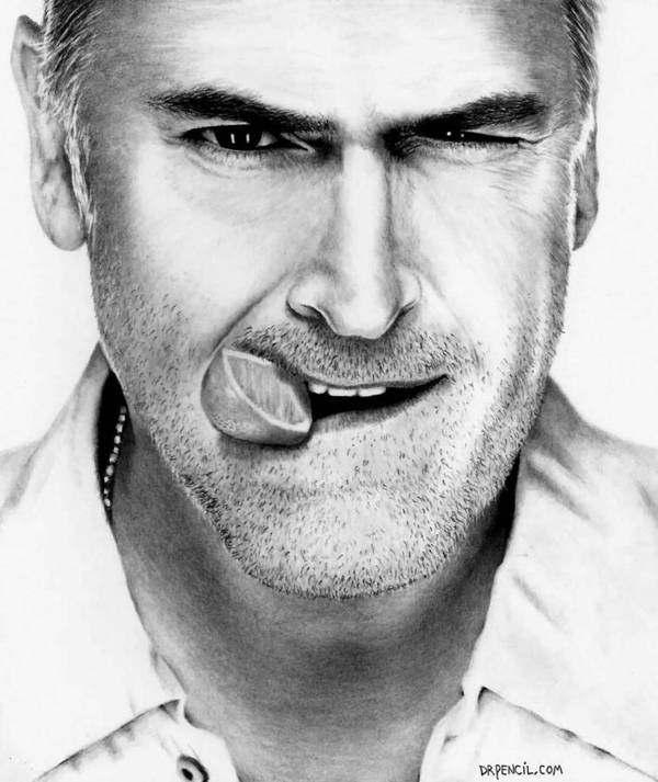 Bruce Campbell Poster featuring the drawing Bruce Campbell by Rick Fortson