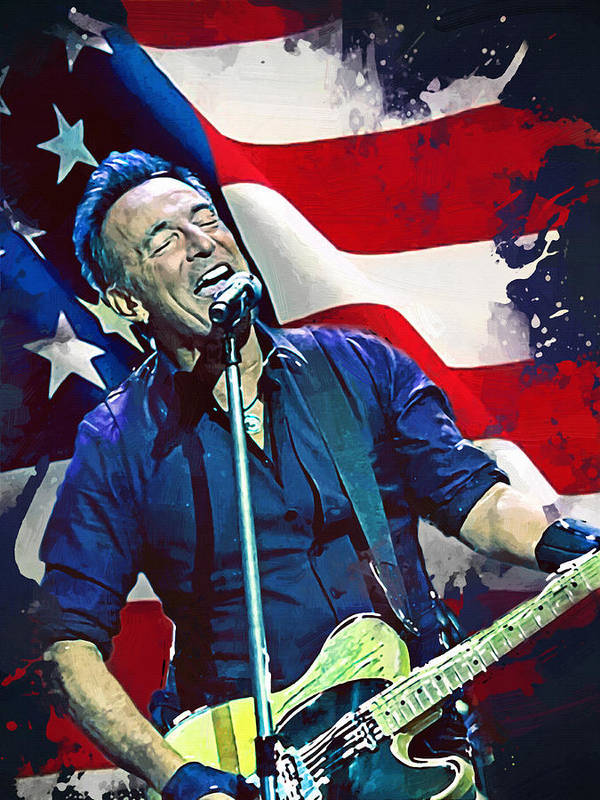 Bruce Springsteen Poster featuring the digital art Bruce Springsteen by Afterdarkness
