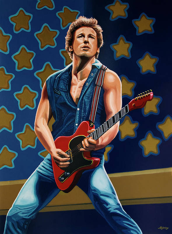 Bruce Springsteen Poster featuring the painting Bruce Springsteen The Boss Painting by Paul Meijering