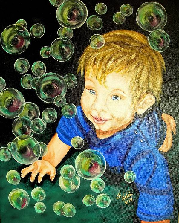 Baby Poster featuring the painting Bubble Baby by Kathern Ware