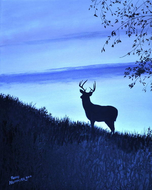 Buck Poster featuring the painting Buck Silhouette In Blue by Penny Neimiller