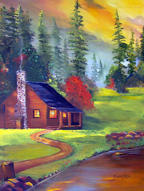 Cabin Poster featuring the painting Bucks Cabin by Julie Lamons