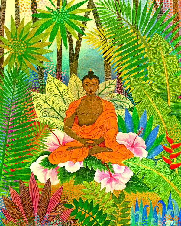 Buddha Meditation Spirtual Forest Tropical Enlightenment Poster featuring the painting Buddha In The Jungle by Jennifer Baird