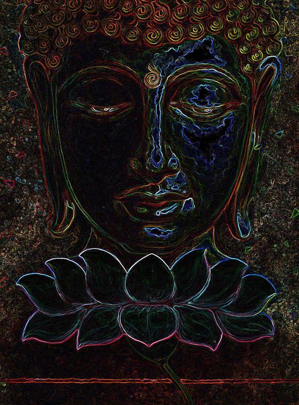 Poster featuring the digital art Buddha by Suraj Laheru