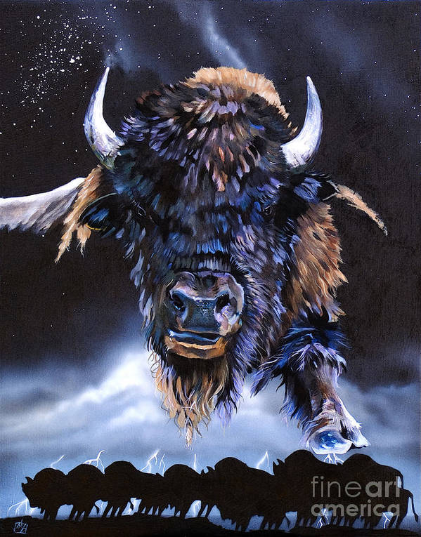Buffalo Poster featuring the painting Buffalo Medicine by J W Baker