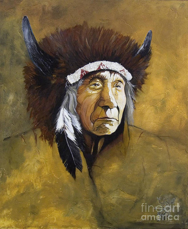 Shaman Poster featuring the painting Buffalo Shaman by J W Baker