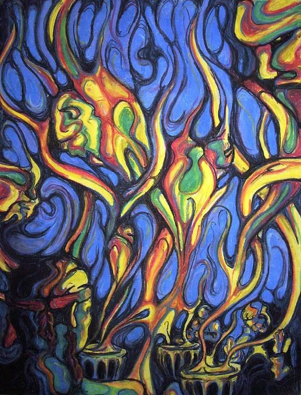 Surreal Poster featuring the pastel Buffalo Spirits by John Benko