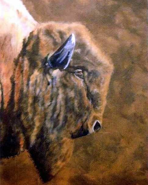 Bison Poster featuring the painting Buffalo by Travis Kelley