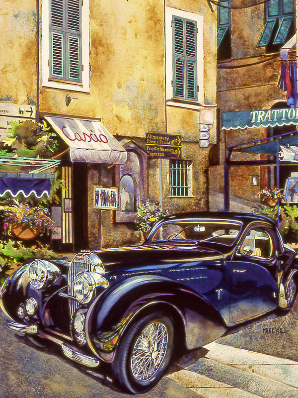 Bugatti 1939 Concours D Poster featuring the painting Bugatti by Mike Hill