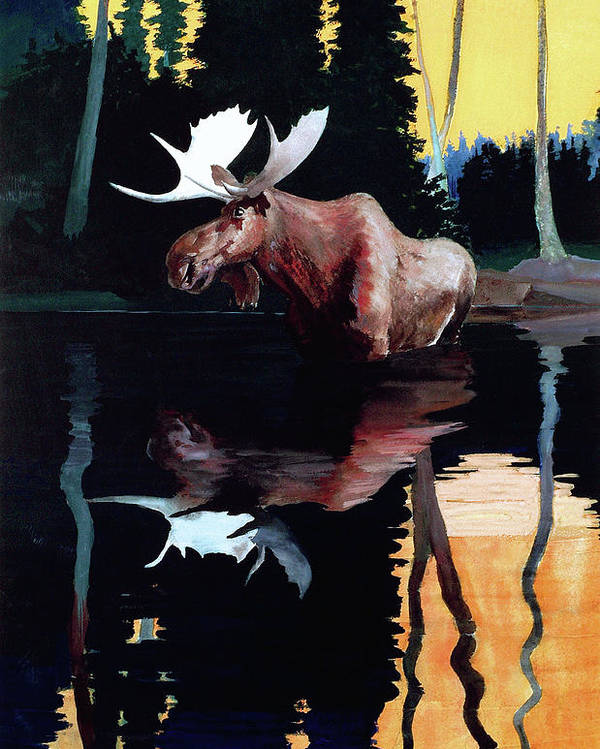 Outdoor Poster featuring the painting Bull Moose by Robert Wesley Amick