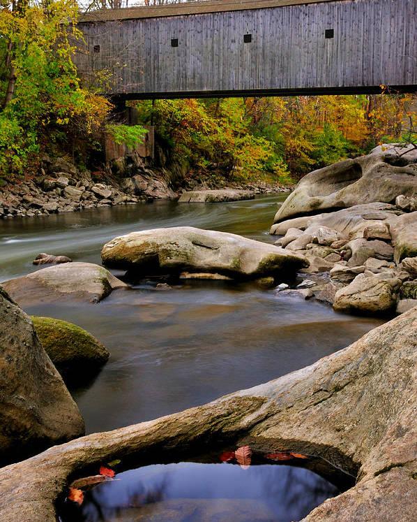 Bulls Bridge Poster featuring the photograph Bulls Bridge - Autumn Scene by Thomas Schoeller