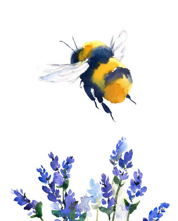 Watercolor Poster featuring the painting Bumblebee by Maria Stezhko