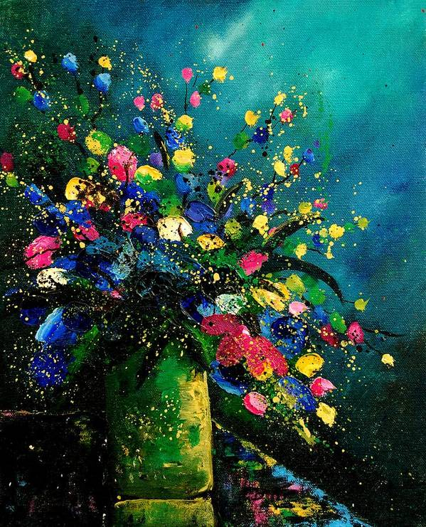 Flowers Poster featuring the painting Bunch 0807 by Pol Ledent