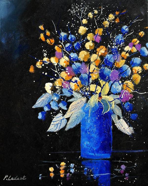 Flowers Poster featuring the painting Bunch 451008 by Pol Ledent