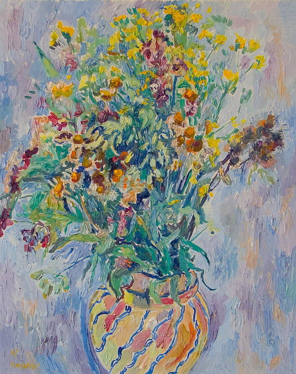 Wild Flowers Poster featuring the painting Bunch Of Wild Flowers In A Vase by Vitali Komarov