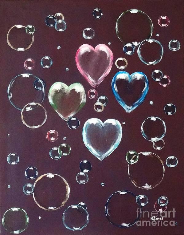 Soap Bubbles Poster featuring the painting Burgundy Bubbles by Karen Jane Jones