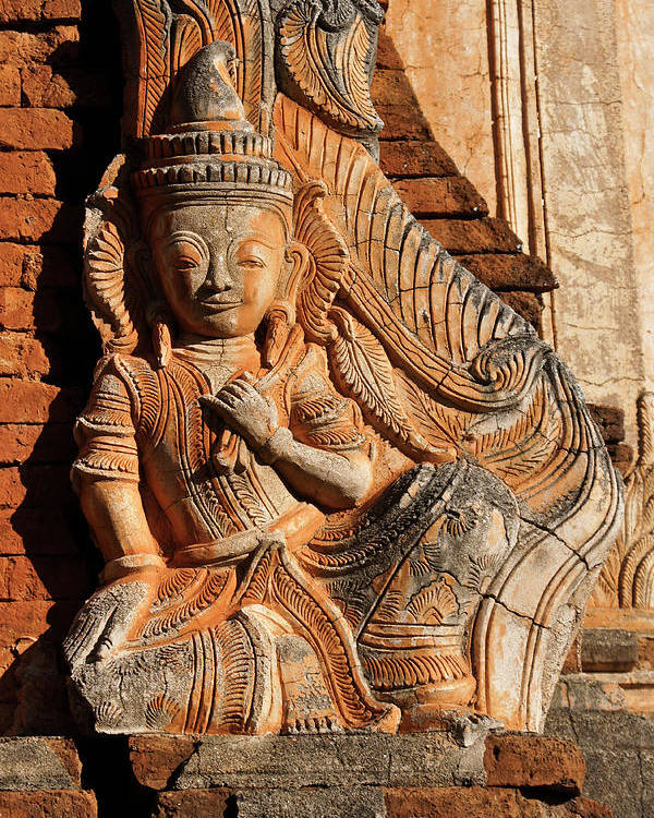Asia Poster featuring the photograph Burmese Pagoda Sculpture by Michele Burgess