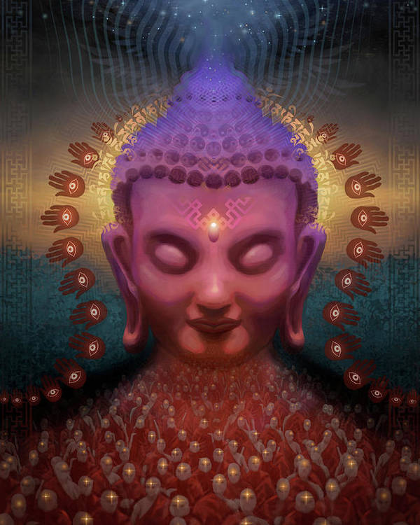 Buddha Poster featuring the digital art Burmese Step by George Atherton