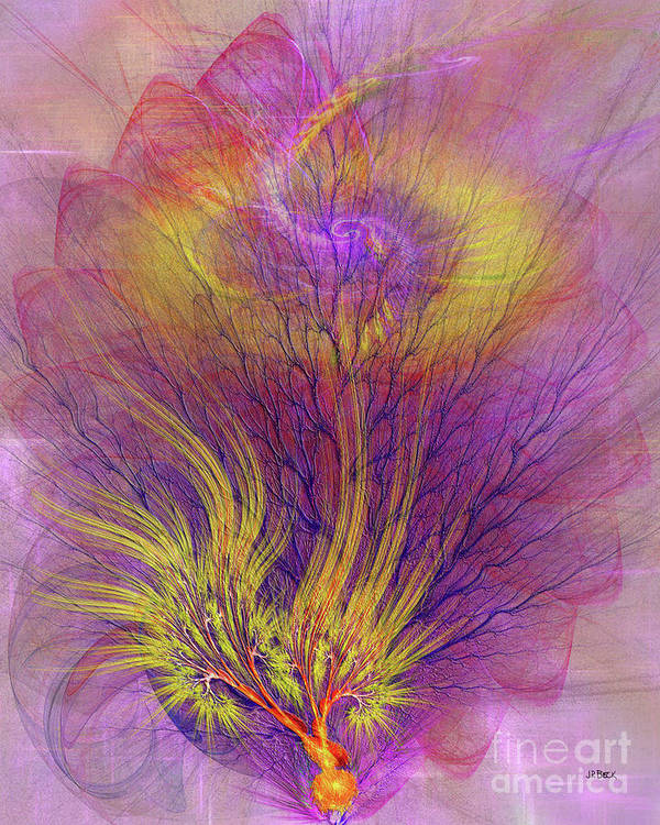Burning Bush Poster featuring the digital art Burning Bush by John Beck