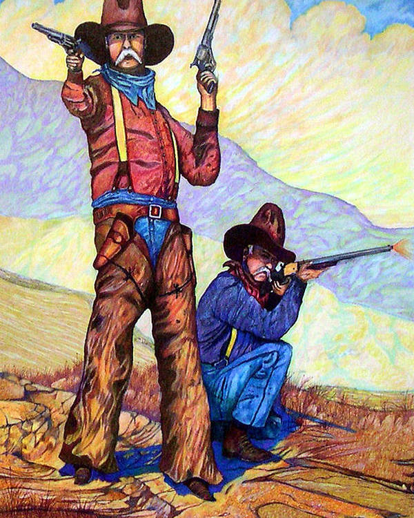 Western Art Cowboys Poster featuring the drawing Bushwacked At The Arroyo by Donn Kay