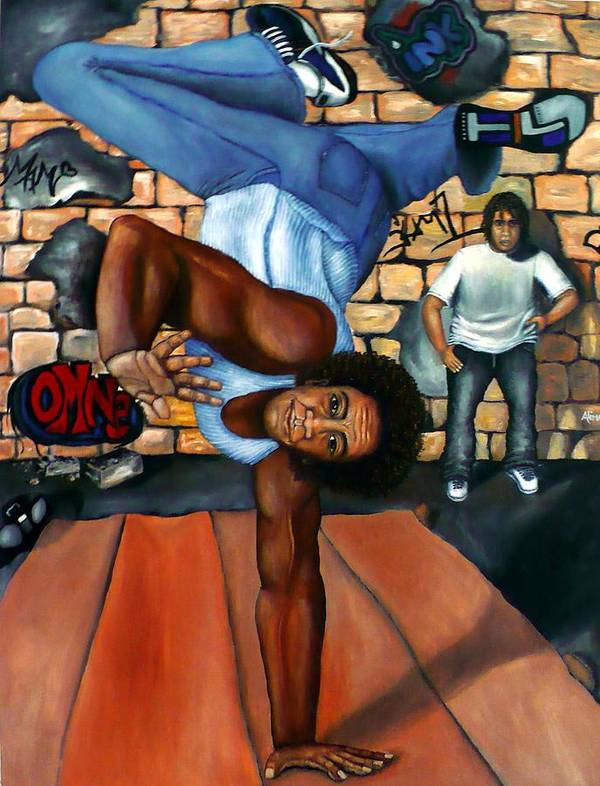 Breakdancing Poster featuring the painting Bust A Move by Alima Newton