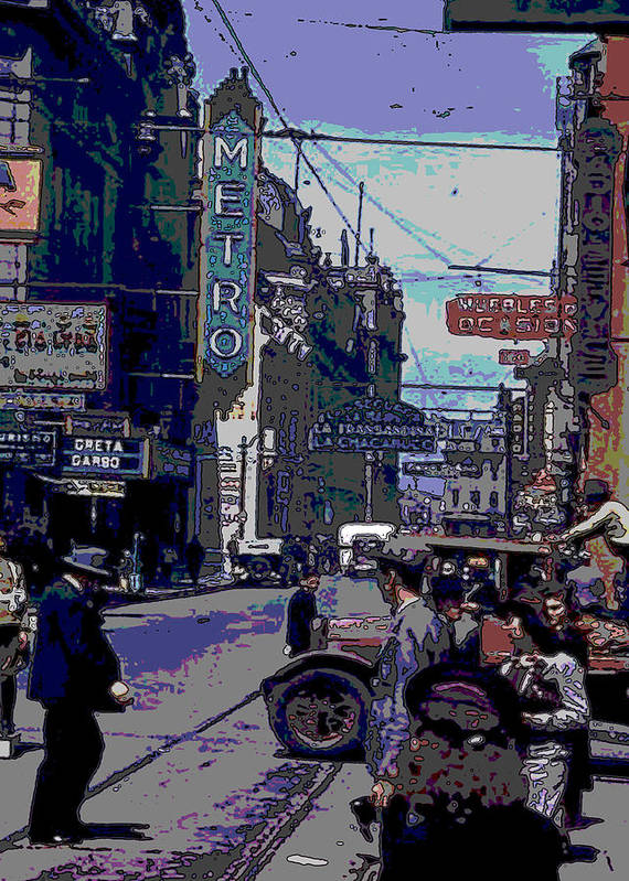 City Street Poster featuring the digital art Busy City Street by Carlos Laster