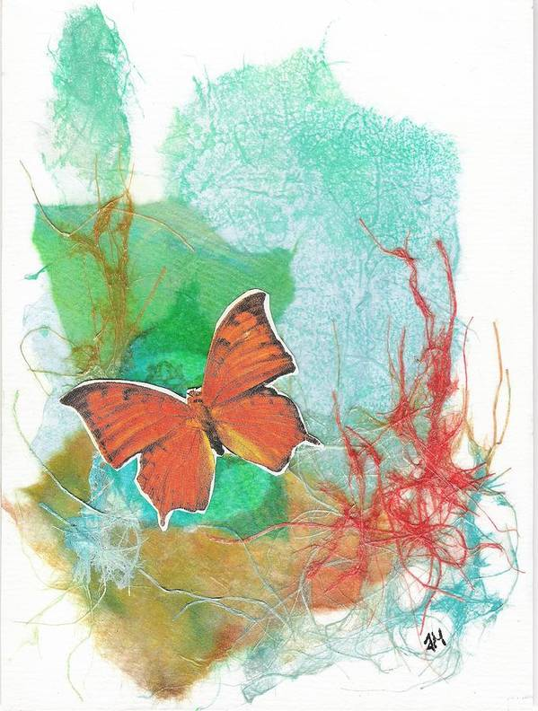 Non-representational Poster featuring the mixed media Butterflies in Blue Skies by Tara Milliken