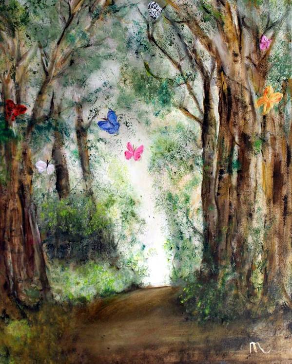 Landscape Poster featuring the painting Butterfly Forest by Michela Akers