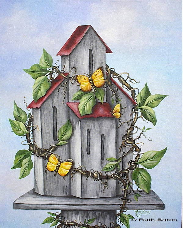 Butterflies Poster featuring the painting Butterfly House by Ruth Bares