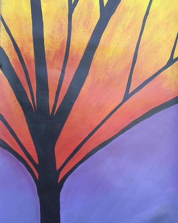 Abstract Tree Butterfly Bright Poster featuring the painting Butterfly Tree 1 by Sally Van Driest