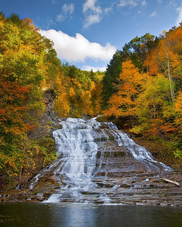 Waterfall Poster featuring the photograph Buttermilk Falls 2 by Mark Papke