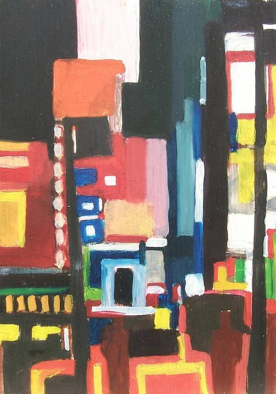 Cityscape Poster featuring the painting Bway At 46th by Ron Erickson