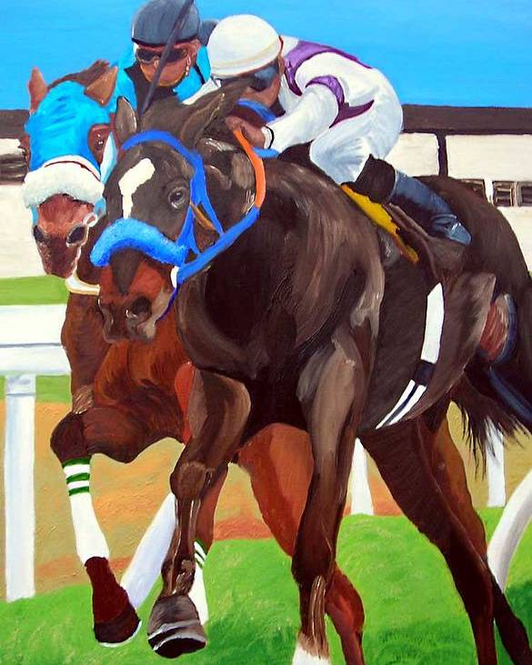 Horse Racing Poster featuring the painting By A Nose by Michael Lee