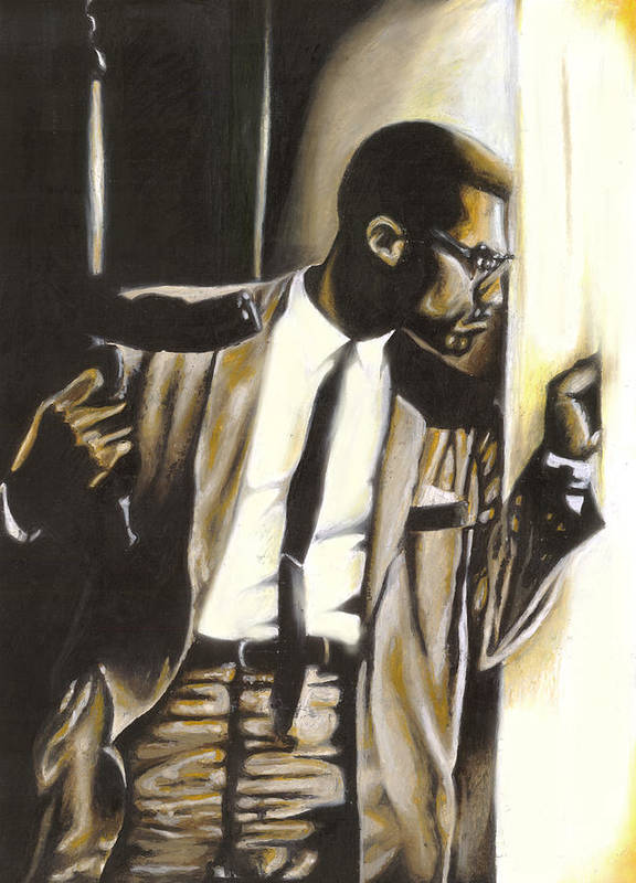 Malcolm X Poster featuring the drawing By Any Means Necessary by Lamark Crosby