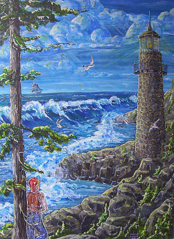 Seascape Poster featuring the painting By The Sea by Phyllis Mae Richardson Fisher