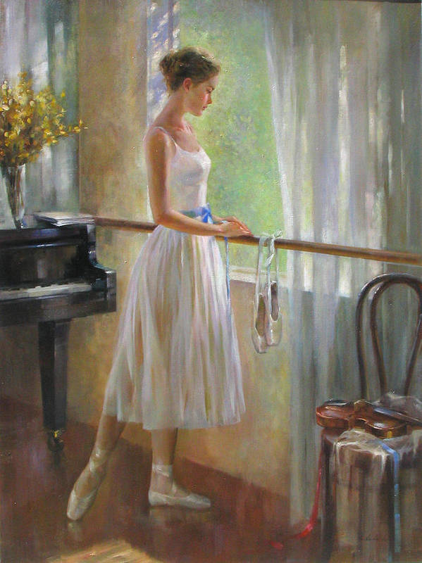 Figurative Painting Poster featuring the painting By The Window by Kelvin Lei