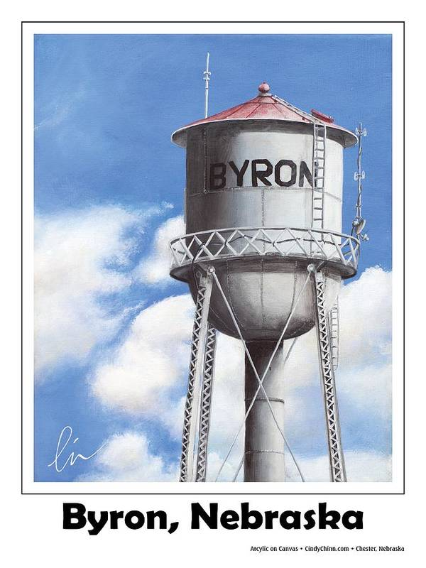Bryon Poster featuring the painting Byron Water Tower Poster by Cindy D Chinn