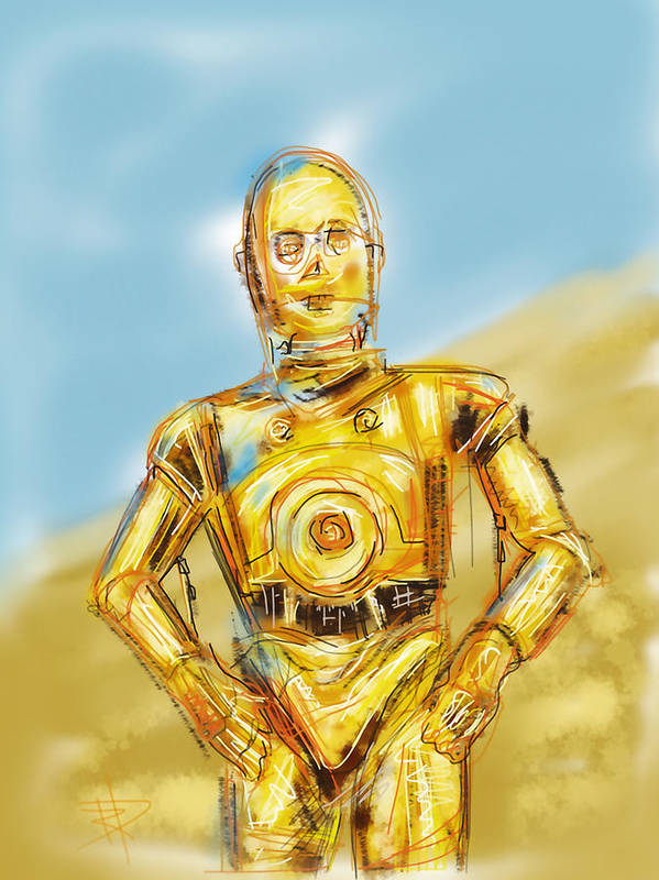 Star Wars Poster featuring the digital art C3po by Russell Pierce