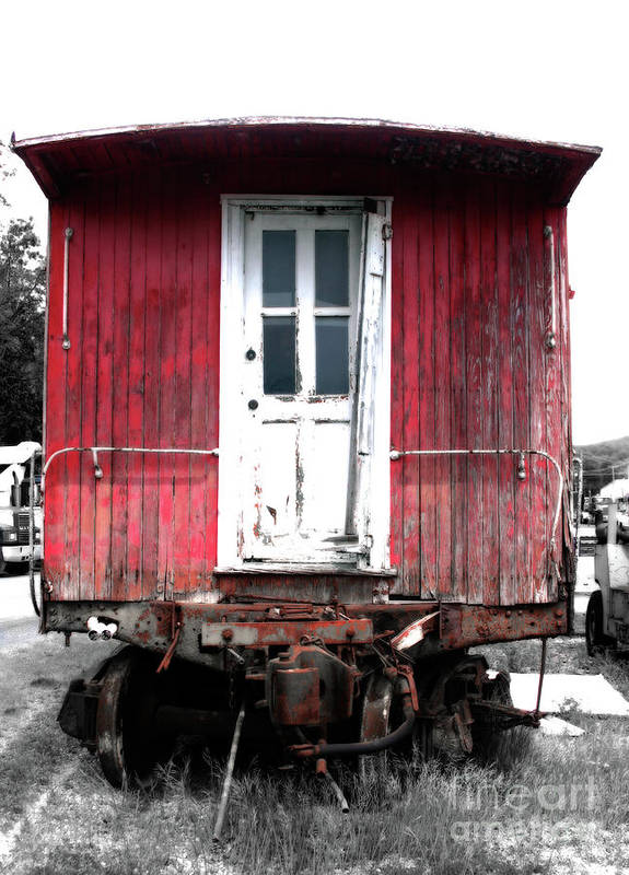 Train Poster featuring the photograph Caboose In Barn Red by Steven Digman