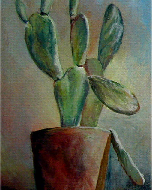Flower Poster featuring the painting Cactus 1 by Muriel Dolemieux