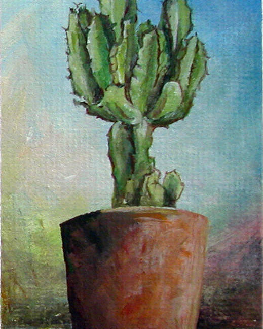 Flower Poster featuring the painting Cactus 3 by Muriel Dolemieux