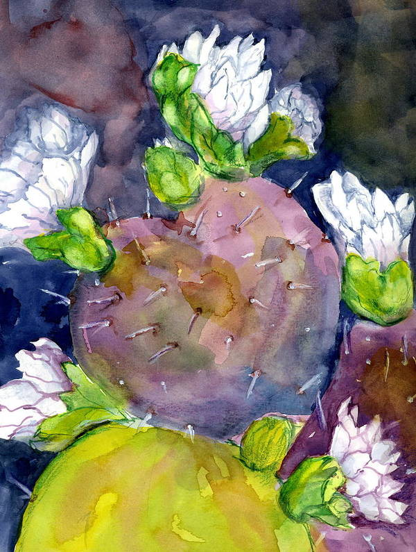 Cactus Poster featuring the painting Cactus And Flowers by Marilyn Barton