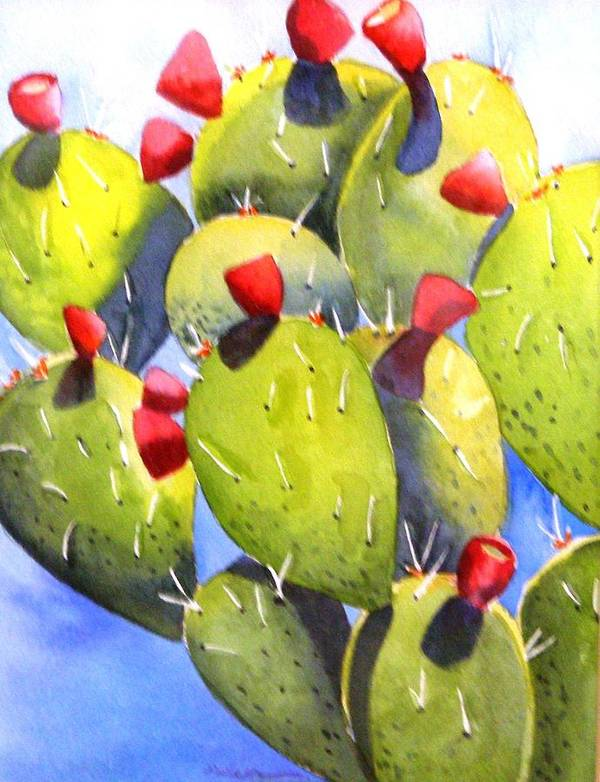 Fun Poster featuring the painting Cactus Blossoms by Dorothy Nalls