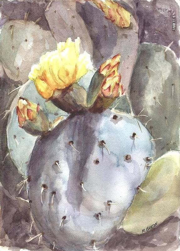 Cactus Poster featuring the painting Cactus Flower by Marilyn Barton